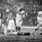 Eagles linebacker Chuck Bednarik knocked Giants back Frank Gifford out of the game ... and the following season.