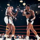 At 22-years-old, Cassius Clay (Muhammad Ali) battered the heavily favored Sonny Liston in a bout that shook the boxing world. The fight ignited the career of one of sports' most charismatic and controversial figures, whose bouts often became social and political events rather than simply sports contests. At the peak of his fame, Muhammad Ali was the best known athlete in the world. Liston, one of the most feared heavyweight champions in history, was a 1-8 favorite over the young challenger known as the Louisville Lip. But Clay, here stinging the champ with a right, used his dazzling speed and constant movement to dominate the action and pile up points.