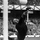 Russian goalkeeper Lev Yashin makes a full-length dive to save a West German free kick during the semifinal of the 1966 World Cup.  Yashin revolutionized goalkeeping as a whole with his dazzling saves and impressive command of his defense. He remains the only goalkeeper ever voted the European Footballer of the Year.