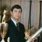 Carl Yastrzemski poses with awards at his home in Boston on Nov. 22, 1967.
