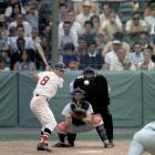 Carl Yastrzemski bats against the California Angels at Fenway Park in Boston on July 26, 1967.