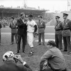 Carl Yastrzemski gives a media interview before Game 7 of the World Series at Fenway Park in Boston on Oct. 12, 1967.
