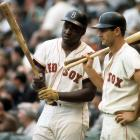 George Scott and Carl Yastrzemski stand in the on-deck circle during Game 1 of the World Series at Fenway Park in Boston on Oct. 4, 1967.