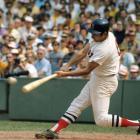 Carl Yastrzemski bats against the Minnesota Twins at Fenway Park in Boston on Aug. 16, 1970.
