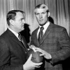 Drafted first overall in the 1970 draft out of Louisiana Tech, Bradshaw poses with his Steelers head coach Chuck Noll.