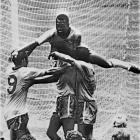 Pelé and Jairzinho celebrate after Pelé's goal in the 1970 World Cup final.  The game, which saw Brazil defeat another two-time champion, Italy, by a 4-1 margin, resulted in Brazil keeping the Jules Rimet trophy (the current trophy design began to be used at the following World Cup).