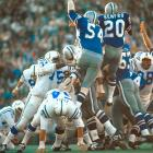 Baltimore Colts rookie kicker Jim O'Brien boots a game-winning field goal with five seconds left over the outstretched arms of the Dallas Cowboys rush. O'Brien's field goal delivered the championship to Baltimore and broke a 13-13 tie.