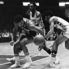 Durrett (pictured in the background, with the 76ers)) had more fouls (197) than field goals (192) in his four-year career, during which he averaged 10 minutes a game and never started.