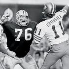 Packers tackle Mike McCoy had mayhem in mind but couldn't reach 49ers quarterback Steve Spurrier before he let it fly.