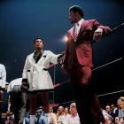 The Louisville Lip stands next to George Foreman before Ali's fight versus Jerry Quarry in June 1972. Ali won by technical knockout in the seventh round. Foreman at the time was 36-0. Ali would not get his shot against Foreman for more than two years.