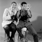 Ali sits with sportscaster Howard Cosell before his fight with Joe Bugner in February 1973. Although unable to knock Bugner out, Ali won comfortably by unanimous decision.