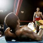 ''Down goes Frazier!'' Howard Cosell's memorable call provided a dramatic soundtrack to Foreman's shocking two-round destruction of Frazier in Kingston, Jamaica, on Jan. 22, 1973. With the win, Foreman claimed the heavyweight title and set himself up as the most feared puncher in the sport.
