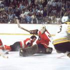 Boston was the heavy favorite, having won 17 of 19 against Philadelphia during the regular season, but in the final, former Bruin Bernie Parent led an upset for the ages. In this photo, he's backstopping a 4-2 win in Game 4 with his Broad Street Bullies en route to becoming the first of the NHL's 1967 expansion teams to win the Stanley Cup.