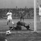 Yugoslavia's Branko Oblek celebrates after scoring as Zaire's substitute goalkeeper Dimbi Tubilandu beats the ground in frustration en route to Yugoslavia's 9-0 thrashing of Zaire at the 1974 World Cup.  The match remains the biggest winning margin in World Cup history.