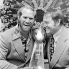 Noll and Bradshaw commemorate their 16-6 Super Bowl IX defeat over the Minnesota Vikings.