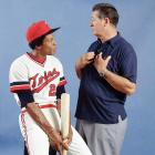 Rod Carew and Ted Williams pose together in 1977.