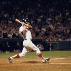 Carl Yastrzemski gets his 3,000th career hit during a game against the New York Yankees at Fenway Park in Boston on Sept. 12, 1979.