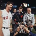 Carl Yastrzemski talks with the media after getting his 3,000th career hit during a game against the New York Yankees at Fenway Park in Boston on Sept. 12, 1979.
