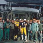 Bradshaw and Stargell were the toast of the town in 1979 after leading their respective teams to a championship. Here they pose with workers at Jones & Laughlin steel mill in Pittsburgh.
