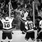 Gritty Islanders winger Bob Nystrom unleashed a tidal wave of joy in Nassau Coliseum after scoring the Islanders' first Stanley Cup-winning goal in overtime of Game 6. The vanquished Flyers are Mel Bridgman and Bob Dailey.