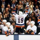 The Islanders' Hall of Fame center celebrated with the Nassau Coliseum crowd as New York closed out its four-game sweep of Wayne Gretzky's Edmonton Oilers.