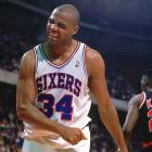 Charles Barkley gets upset during a game against the Portland Trail Blazers. The 76ers went 46-36 that season before the New York Knicks swept them in the first round of the Eastern Conference playoffs.