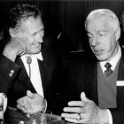 Ted Williams and Joe DiMaggio share a laugh prior to a benefit for the Jimmy Fund in honor of Williams on Nov. 11, 1988 in Boston.