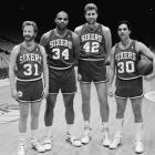 "Timothy Busfield (left) and Ken Olin (right), of the hit TV show ""Thirtysomething,"" act out a fantasy scene with Charles Barkley and Mike Giminski before a Clippers-Sixers game in Los Angeles."