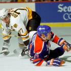 With Wayne Gretzky gone to Los Angeles, Mark Messier proved his mettle as a leader by powering the Oilers to their fifth Stanley Cup in seven years. Edmonton bested Ray Bourque's Bruins in five games.