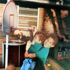 A 2-year-old Blake Griffin gets a boost from older brother Taylor (5) to reach a hoop at their home in Oklahoma. Clearly he wouldn't need help for long.