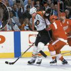 Dubbed The Next One, Lindros famously forced a trade to Philadelphia where he became captain, the pivot on the legendary Legion of Doom line, and the 1994-95 Hart Trophy-winner. His 13-season career was diminished and ultimately ended by a series of concussions. — Notable picks: No. 2: Pat Falloon, RW, San Jose Sharks | No. 3: Scott Niedermayer, D, New Jersey Devils | No. 6: Peter Forsberg, C, Philadelphia Flyers | No. 15: Alexei Kovalev, RW, New York Rangers | No. 16: Markus Naslund, LW, Pittsburgh Penguins | No. 23: Ray Whitney, LW, San Jose Sharks | No. 26: Ziggy Palffy, RW, New York Islanders | No. 30: Sandis Ozolinsh, D, San Jose Sharks | No. 54: Chris Osgood, G, Detroit Red Wings