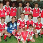 The Arsenal football team posed for a photograph with Mandela in Johannesburg.