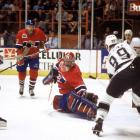 """Five years after his arrival in Los Angeles, Wayne Gretzky led the Kings to their first Stanley Cup Final appearance. Unfortunately, nonpareil netminder Patrick Roy was waiting. Gretzky was """"limited"""" to two goals and five assists in the series as Roy earned Conn Smythe honors for the second time as Montreal took the Cup in five games."""