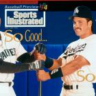 Ken Griffey Jr. and Mike Piazza appear on this foldout cover of SI in April 1994.