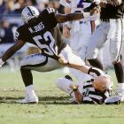 Hats off to Raiders linebacker Mike Jones for not flagging the ref for holding on this play.