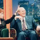 """Carol Burnett gives Bradshaw the """"bunny ears"""" during the taping of """"The Tonight Show with Jay Leno"""" in 1994."""