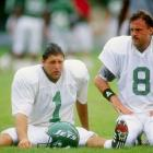 Placekicker Tony Meola (1), who served as goalkeeper during the U.S. soccer team's 1994 World Cup run, stretches with Nick Lowery during Jets training camp at Hofstra University in Hempstead, N.Y.