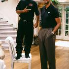Will Smith poses with Kareem Abdul-Jabbar while filming the Fresh Prince of Bel-Air episode ''Will's Misery.''