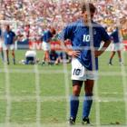 Roberto Baggio stares at the spot after missing a penalty in the 1994 World Cup final to give Brazil the win and the title.