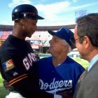 with Tommy Lasorda and Al Michaels
