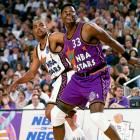 Patrick Ewing battles for position against Charles Barkley during the NBA All-Star Game in Phoenix.