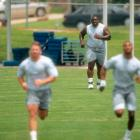 Dallas offensive lineman Nate Newton attempts to run sprints.