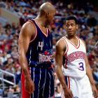 After five seasons in Phoenix, Charles Barkley was traded to Houston. Meanwhile, in Philadelphia, Allen Iverson became the Sixers next great star.
