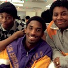 "Kobe poses with Kel Mitchell and Kenan Thompson in the make-up room before taping of the show ""All That"" in 1998."