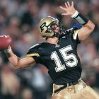 Prolific in college as well as the pros, Drew Brees led Purdue to 24 wins in his three years as a starter. He passed for 3,668 yards and 26 touchdowns his senior season, claiming the Maxwell Award for his efforts.
