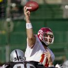 39 of 53 for 504 yards and 2 TDs in 49-31 loss to the Oakland Raiders.