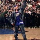 Will Smith films a music video during halftime of a 76ers-Pacers game in Philadelphia.