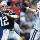 The Brady-Manning rivalry began on a positive note for the Patriots. In Tom Brady's first NFL start, Peyton Manning threw three interceptions in an easy New England victory as Brady completed just 13-of-23 passes for 168 yards. (Brady 1, Manning 0)