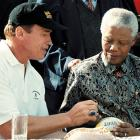 As promotion for the Special Olympics near Cape Town, Arnold Schwarzenegger autographed a rugby ball for Mandela.