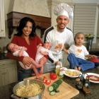 Chef Kidd and his then-wife Joumana whip up a meal with son T.J. and twin daughters Miah and Jazelle.